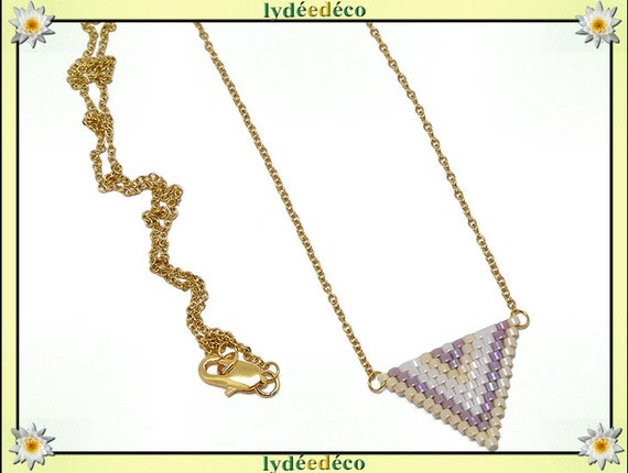 Pastel purple lilac plate necklace white beige and gold woven triangle chevron chain steel stainless mother's day birthday Christmas gift