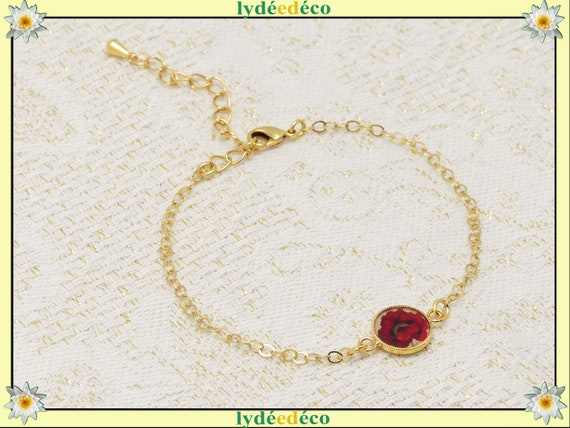 Bracelet COQUELICOT gold-filled adjustable black red gold jewel ceremony wedding wedding bride bridesmaid Mother's Day