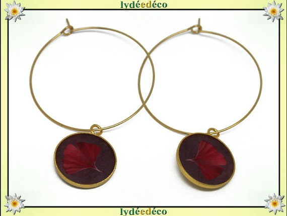 Creole earrings Ginko Golden brass gold 24 carat 24 k red resin flower