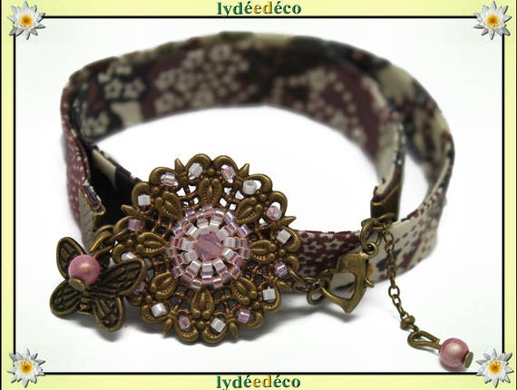 Retro spring print liberty star pastel pink grey white and purple beads Japanese Glass Butterfly brass bronze