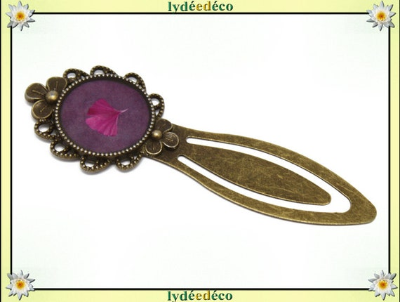 Bookmarks Ginko tree Japan Pink Purple resin bronze brass 20mm mother's day birthday personalised thank you teacher