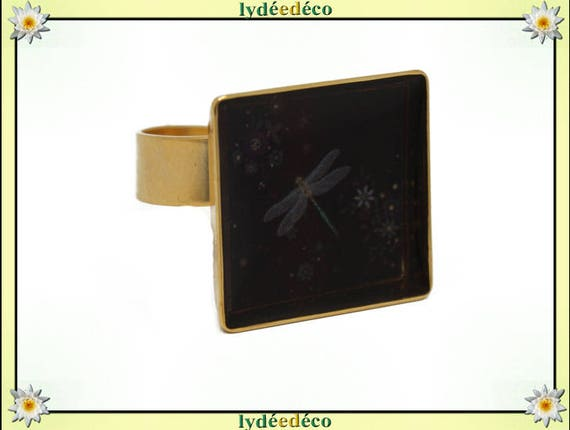 Square ring LILIFLOWER 24 carat 24 K gold plated brass Dragonfly 17mm adjustable black and white flower resin