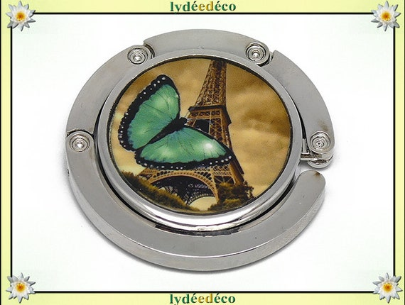 Melon handbag retro Butterfly eiffel tower Paris green sepia black resin on metal silver mother mothers day Christmas birthday gift