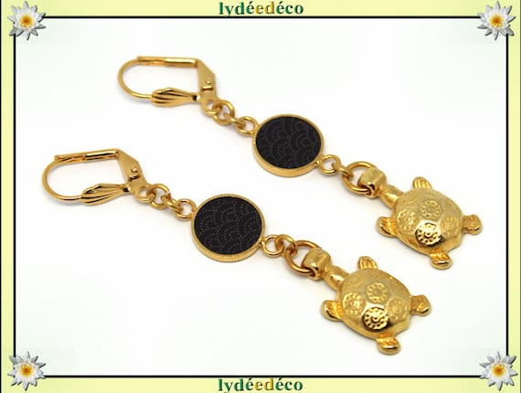Japan brass earrings gold fine 24 k turtle wave sea: black resin seigaiha gift birthday mother's day wedding thank you teacher