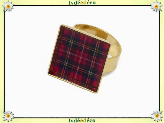 Ring tartan red ecosse outlander brass or 24 carats 24 K resine black gold 17mm adjustable birthday gift birthday party of Mother Christmas
