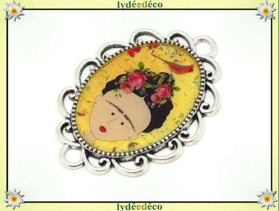 1 magnet magnet flower Frida Kahlo flower yellow bird yellow red red black resine fete of mothers personalized birthday gift thank you noel