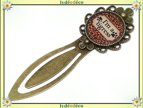 Bookmarks Message Message I'm a tigress paws Black Brown leopard resin bronze brass 20 mm mothers birthday gift
