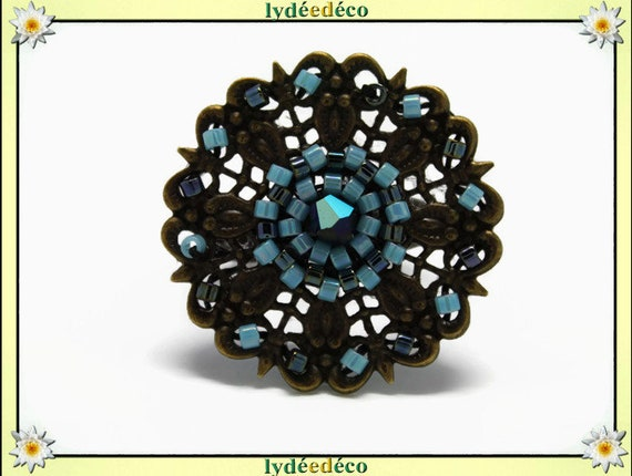 Japanese turquoise grey glass 25mm bronze beads charm retro vintage adjustable flower ring