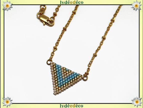 Gold plated necklace Beadweaving Japanese iridescent beige blue turquoise pastel triangle chevron chain ball 18 k