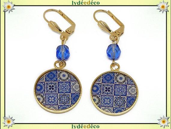 Lisboa Azulejos brass earrings gold fine 24 k blue resin White Pearl resin mother's day gift birthday wedding centerpiece