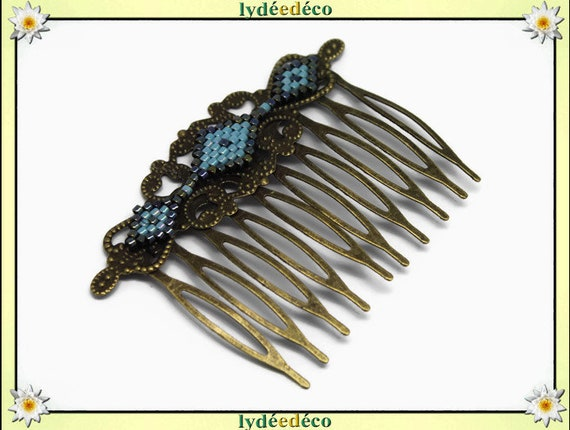 Vintage wedding hair comb Japanese grey turquoise blue glass brass beads