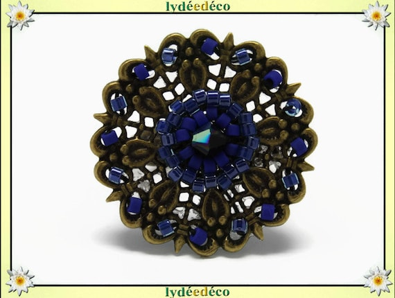 Charming retro vintage adjustable flower ring Japanese brass 25mm blue black glass beads