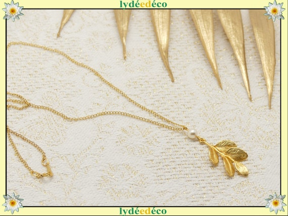 LEAF satin gold leaf necklace 16K brass or fine 24k resin swarovski gold-filled birthday gift birthday wedding Christmas