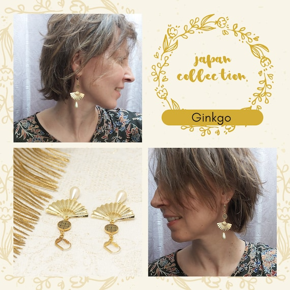 Earrings EVENTAIL Japan ginkgo pearl mother-of-pearl black gold brass or fine 24k resin jewel ceremony gift of mother wedding Noel