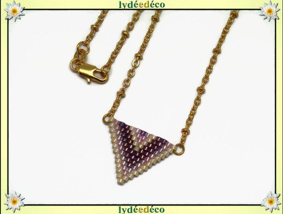Necklace plated 18 k gold blue purple pink pastel beige woven triangle chevron ball chain