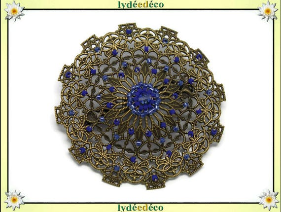 Retro pin vintage lace print hearts dark blue tones overseas brass bronze Japanese Beadweaving