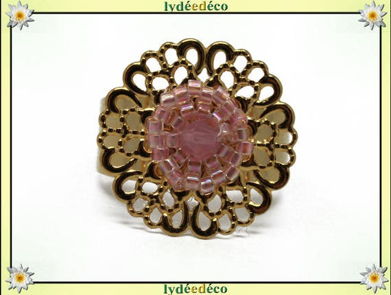 ROSA print brass flower ring gold plated 24 carat 24 K woven beads Japanese pink pastel colors 20mm adjustable