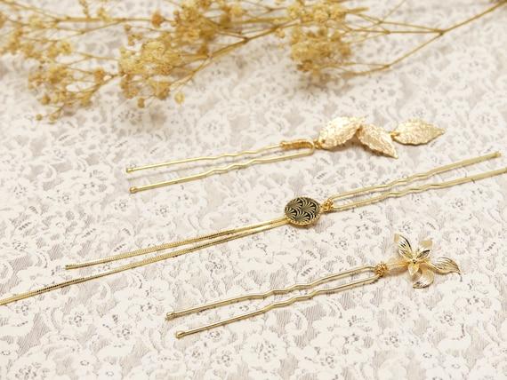 3 pins BELLA pique bun accessory hairstyle flower leaf ginkgo Japan golden gold wedding ceremony bride bridesmaid