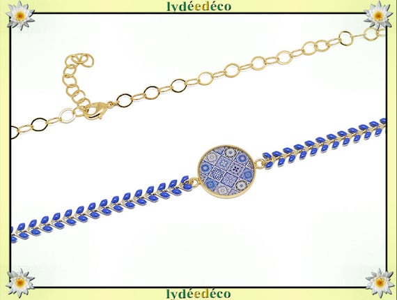 Headband adjustable waves Japan lisboa azulejos gilded brass gold or 24k blue blue resin beads party of mothers birthday gift
