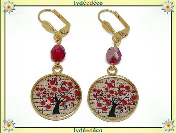 Earrings brass gold 24 k tree poppy red black beige resin beads gift birthday mother's day wedding thank you teacher