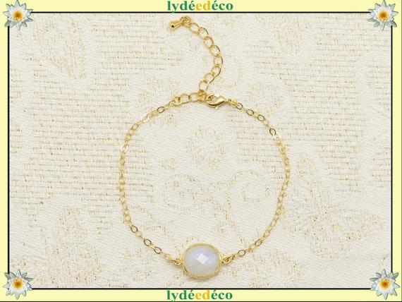 LUNA bracelet Moonstone Quartz Labradorite Chrysoprase Amethyst gold-filled silver 925 adjustable or jewel wedding ceremony