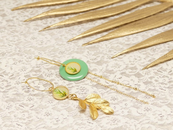 Mini MIMOSA creoles interchangeable sequin chain brass or flower yellow leaf yellow ceremony high wedding fancy