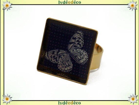 Butterfly square brass gilded with gold 24 carat 24 K resin beige grey black 17mm Adjustable ring