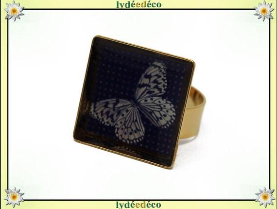 Bague PAPILLON carrée en laiton doré à l'or fin 24 carats 24 K resine beige gris noir 17mm réglable