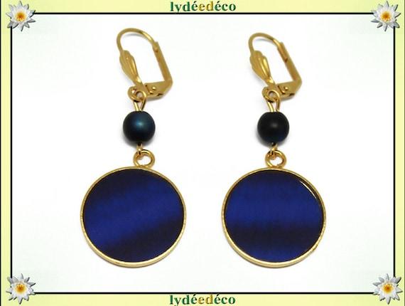 Boucles d'oreilles BLUE laiton or fin 24k bleu nuit résine perles résine fete des meres cadeau anniversaire mariage  merci maitresse