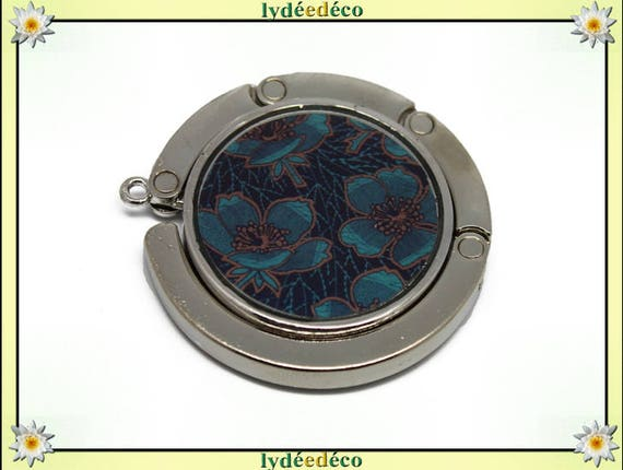 Bag retro Fleur blue Brown resin on metal silver hook