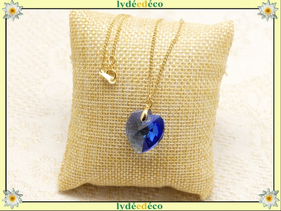 HEART necklace crystal pendant swarovski sapphire or majestic blue or turquoise gold-filled 14k or jewel ceremony wedding bride