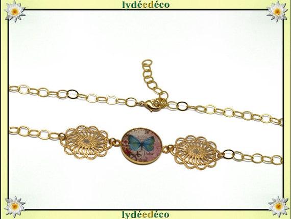 Butterfly headband Golden brass gold 24 carat 24 k Brown pastel pink blue flower resin