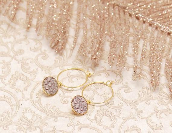 Mini Creoles EVENTAIL art deco Japan powder pink gold brass or fine 24k resin gift gift birthday wedding Christmas
