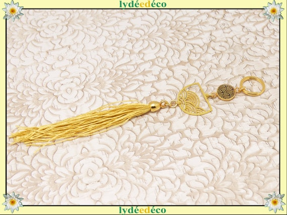 YELLOW Jewel bag door grigri lucky charm yellow gold pearl pompom resin Japan holiday of the mothers christmas birthday gift
