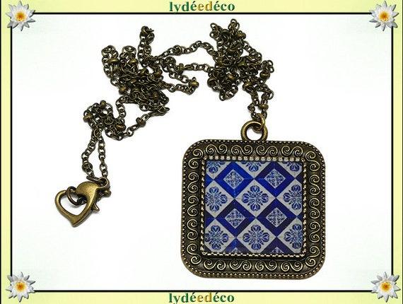 Dark blue retro necklace Azulejos resin portugal Lisboa white resin bronze gift personalized mother's day birthday
