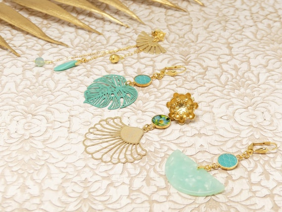 TURQUOISE Rings Duo or Trio lotus leaf monstera wave Japan chain brass pearl or swarovski fan yellow green resin ceremony