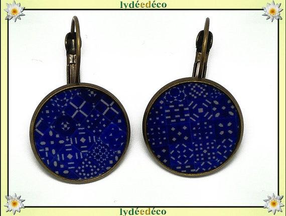 Stud Earrings dark blue tiles Lisboa white resin bronze 2cm mothers personalized anniversary gift