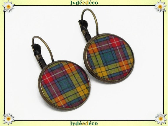 Retro Plaid earrings Scottish green yellow orange red tartan Outlander resin brass bronze party mothers Christmas gift