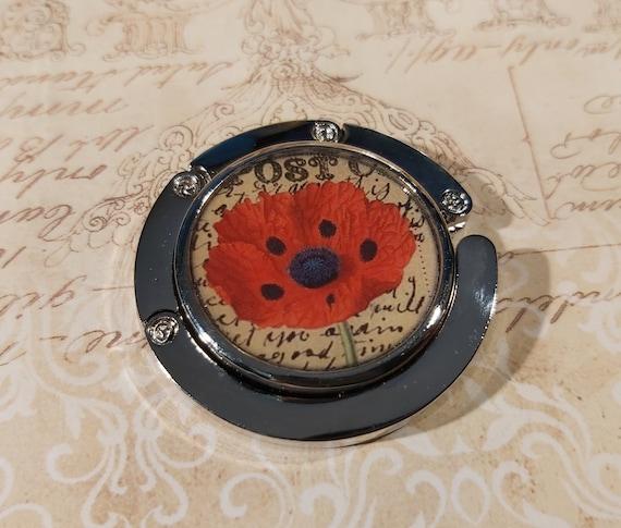 Hangs bag FLOWER retro Flower Poppy red beige black blue resin metal silver gift gift of the birthday mothers