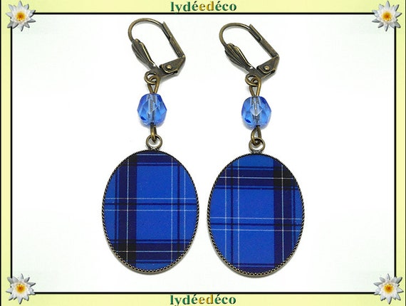 Retro earrings cabochon resin bronze Outlander blue tartan Scottish Plaid beads 18 x 25mm faceted