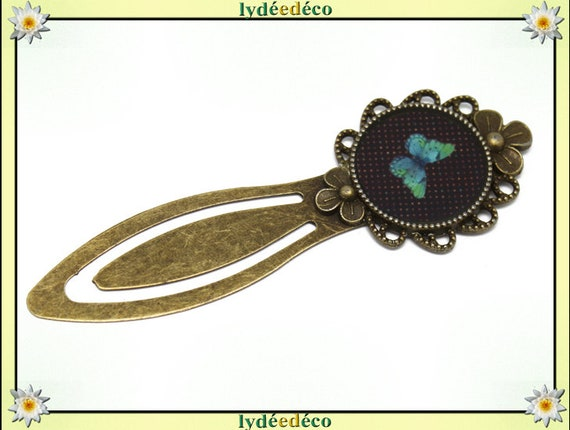 Bookmark retro green black blue butterfly resin and brass 20mm mother's day birthday personalised thank you teacher
