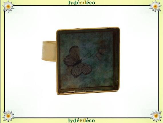 Bague PAPILLON carrée en laiton doré à l'or fin 24 carats 24 K resine vert marron taupe 17mm réglable