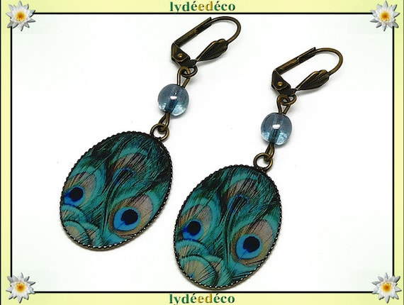 Earrings vintage retro feather peacock blue green beige resin bronze pearls glass pendants 18x25mm