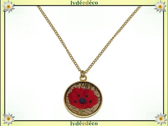Brass poppy flower Choker necklace gold plated 24 k gold filled 14 k red black resin mother's day birthday Christmas custom gift