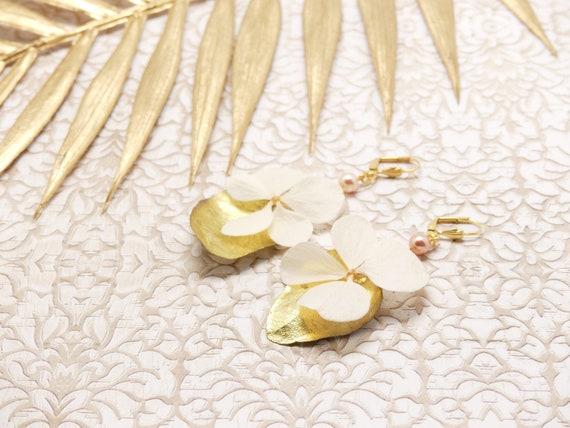 Curls HORTENSE drops brass golden pearl swarovski flower jewel ceremony birthday gift fete of mothers wedding christmas