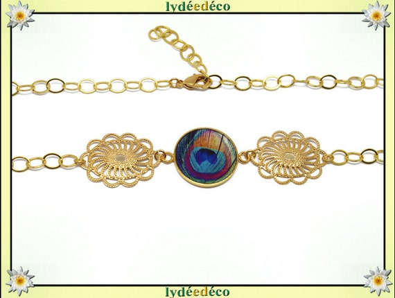 Headband PEACOCK feather Peacock Golden brass gold 24 carat 24 k resin turquoise yellow pink blue flower