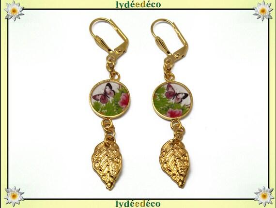 Boucles d'oreilles Papillon laiton or fin 24k oiseau violet vert blanc résine cadeau anniversaire fete des meres mariage merci maitresse