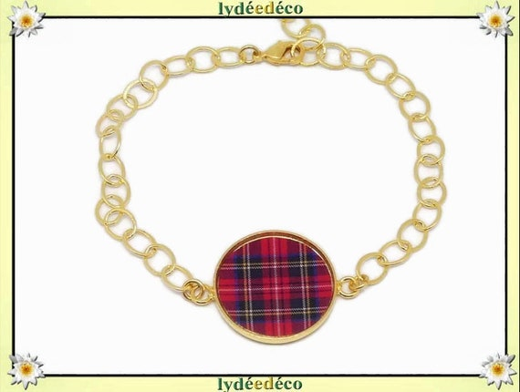Bracelet adjustable Plaid red tartan Scottish Outlander Golden brass gold 24 carat resin resin mothers birthday gift