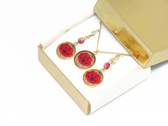 Set necklace earrings poppy brass gold 24 k gold filled 14K red beige black mother's day birthday Christmas gift