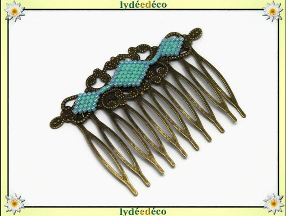 Vintage wedding hair comb Japanese blue green turquoise glass brass beads